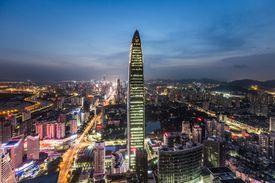 Shenzhen skyline at twilight