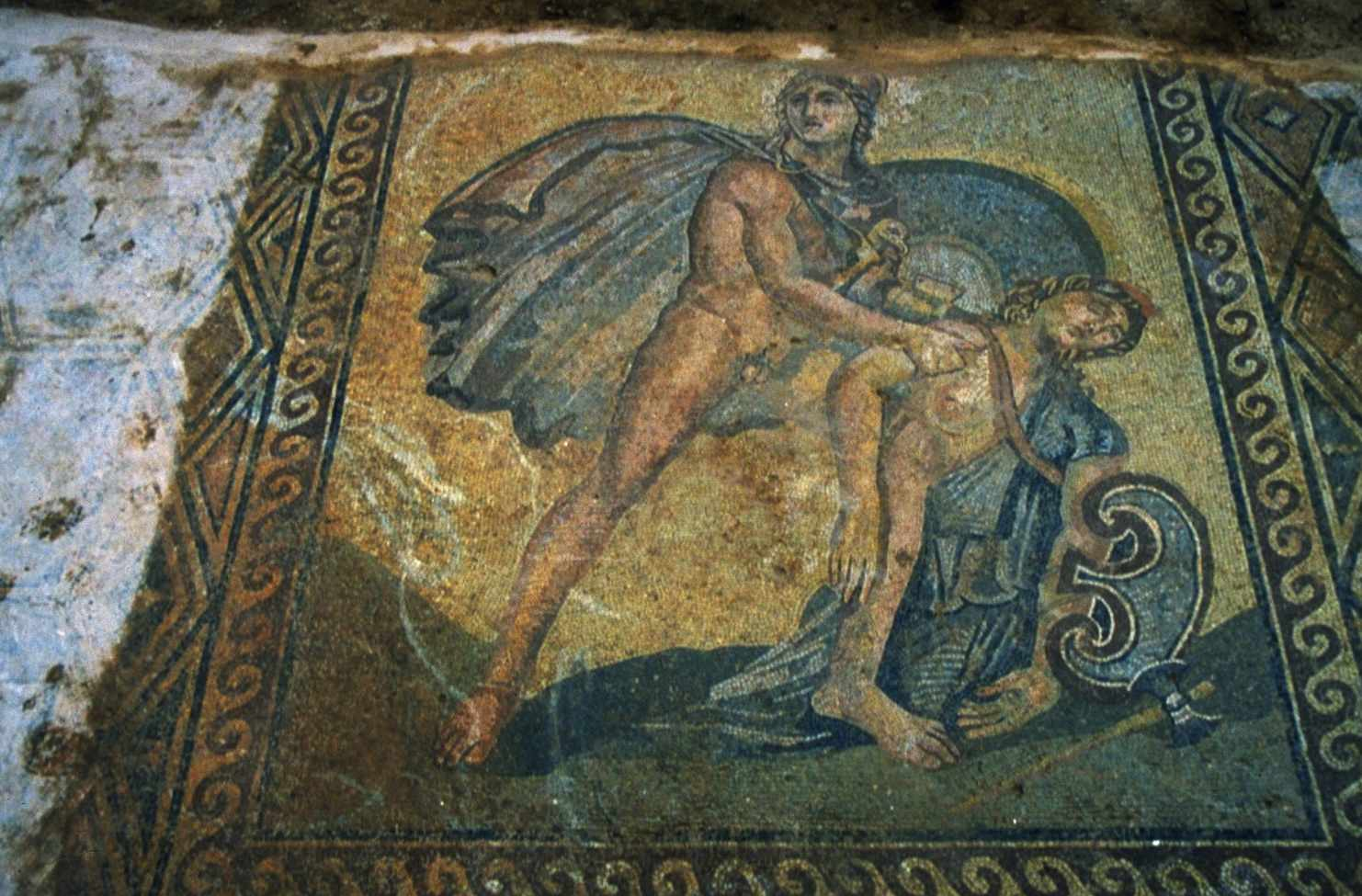 Hellenistic mosaic from the Villa of Herodes Atticus in Eva Kynourias, Greece. This mosaic portrays Achilles holding the body of Penthesilea, Queen of the Amazons, after slaying her during the Trojan War.