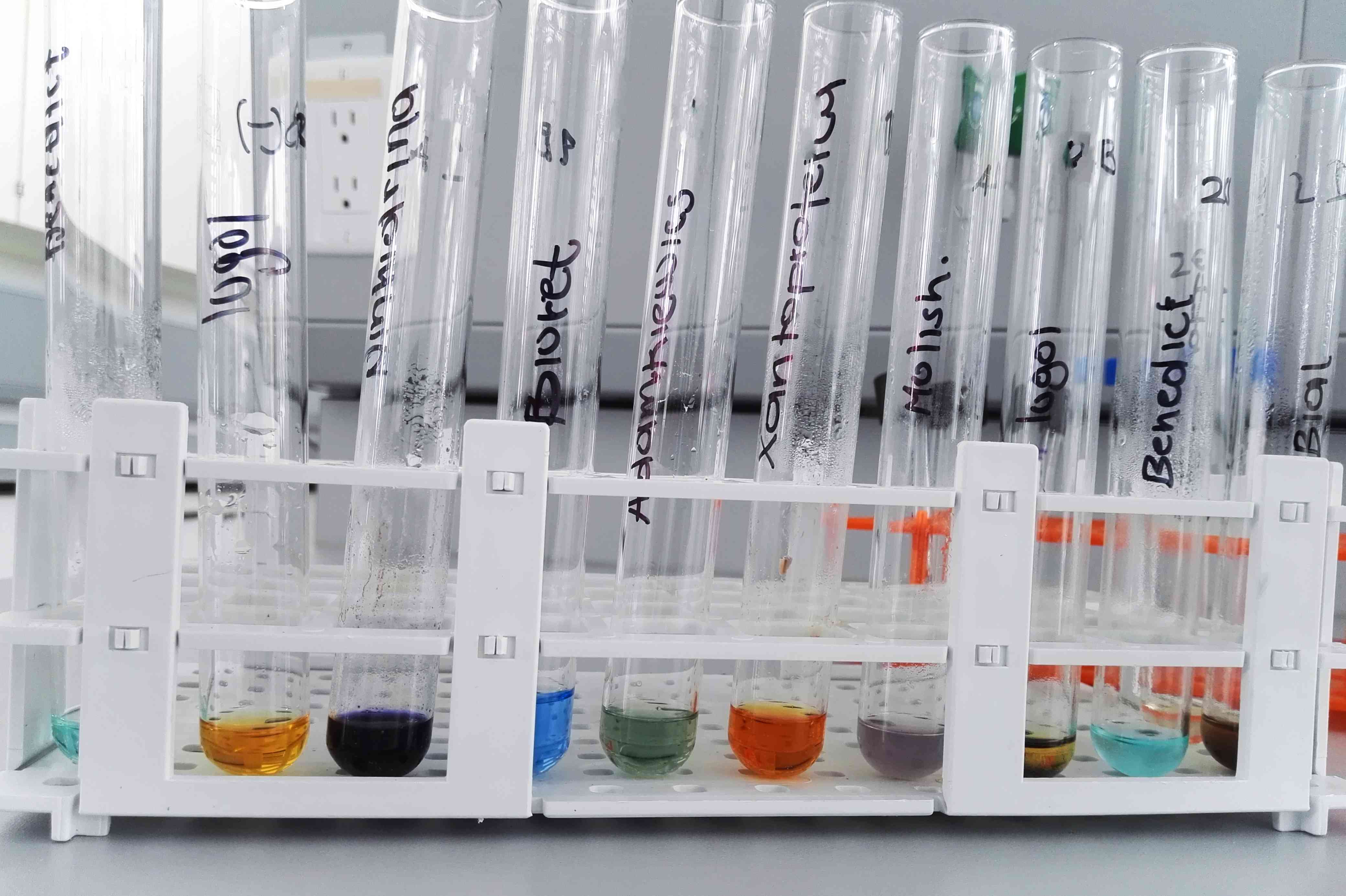 A row of test tubes with solution in them.