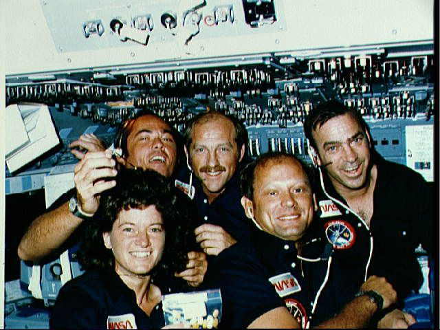Sally Ride with STS-7 Crew In Flight