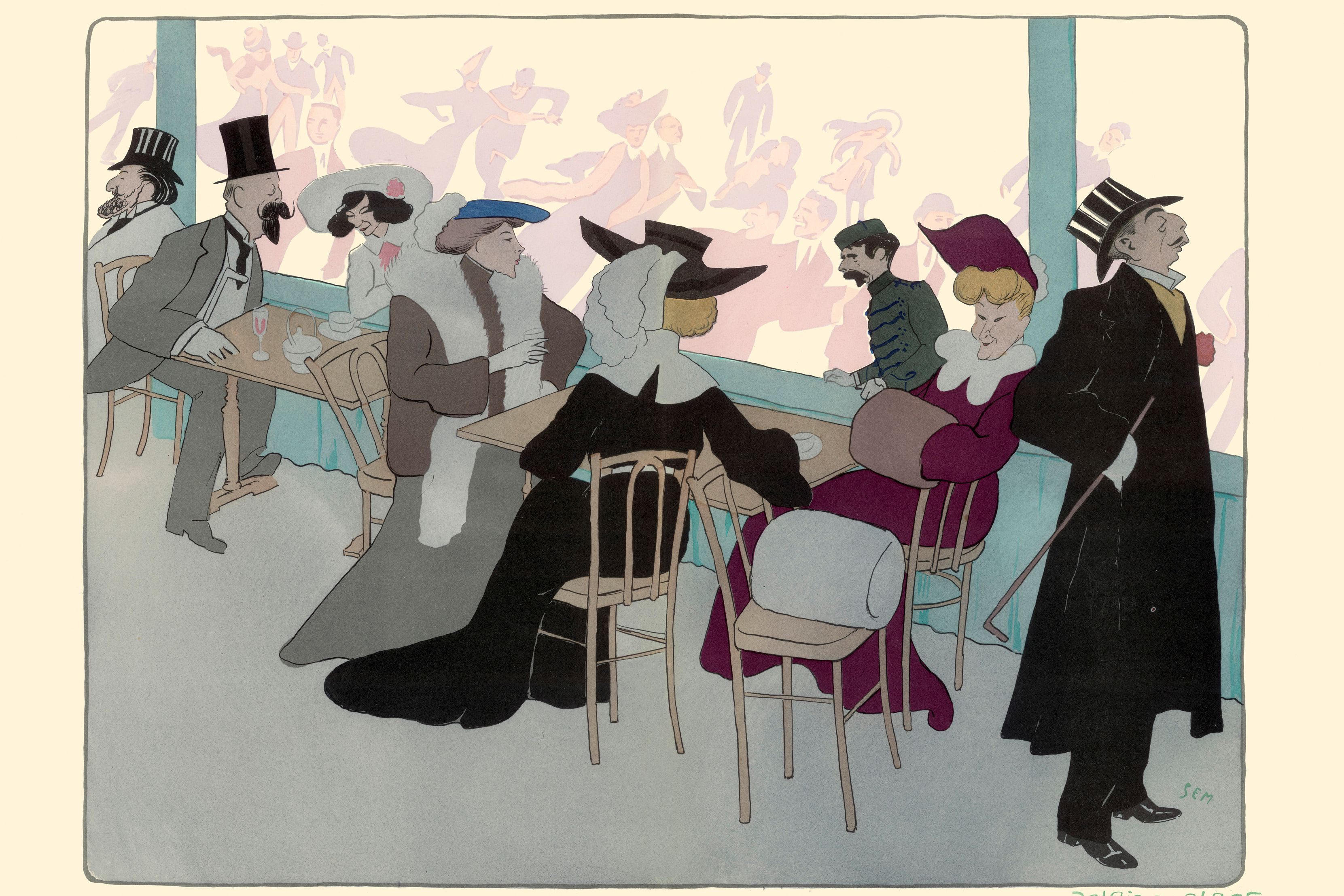 Lithograph by Sem: Le Palais De Glace: Colette; Willy and Other Persona. France, 1901