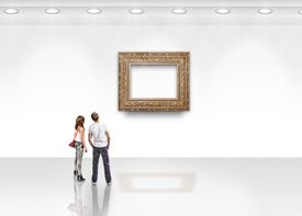 Not an HTML frame but rather an empty frame on a gallery wall