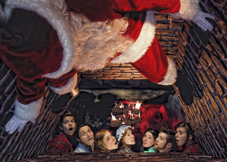 Looking up at Santa in a chimney