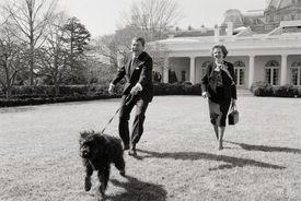Thatcher and Reagan Walking Dog