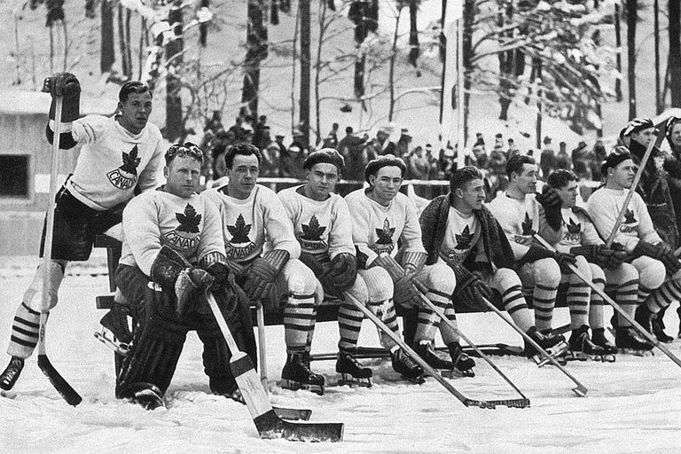 February 1936: The Canadian ice hockey team at the 1936 Winter Olympics at  Garmisch-