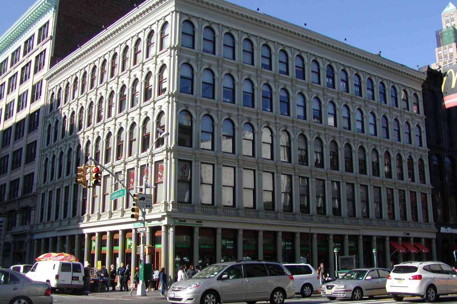 corner building, 5 stories, cast iron facade of George Bruce's 19th century printing business.