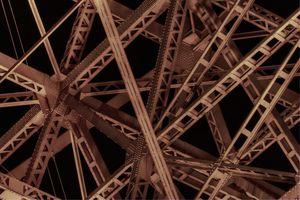 steel crossbeams viewed from below