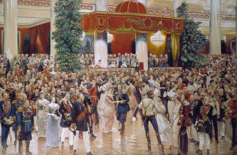A painting of a ballroom filled with men in dress uniforms and women in ballgowns