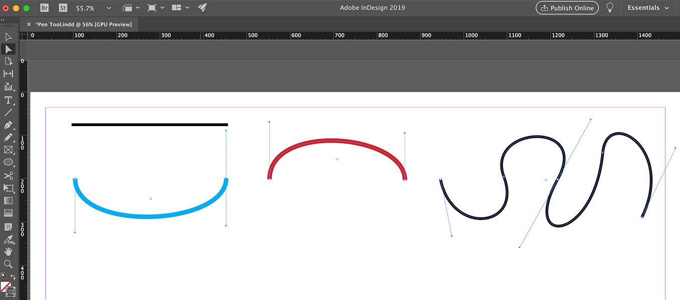 Variations on open curves using the Pen Tool