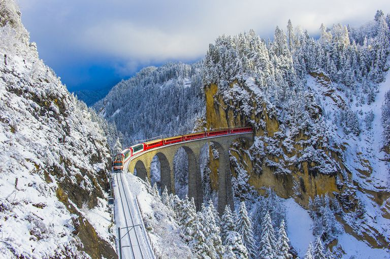 Red Train in Winter Wonderland
