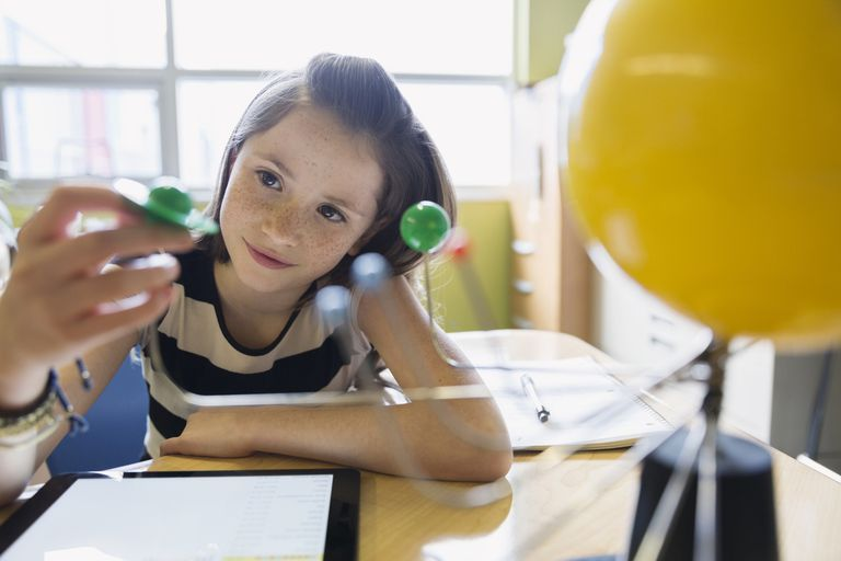Curious elementary student examining solar system model