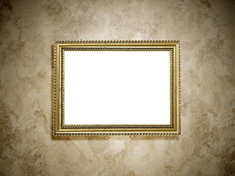 Blank frame hanging on a wall