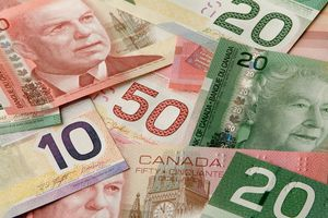 Canadian Bills Layered and Spread out.
