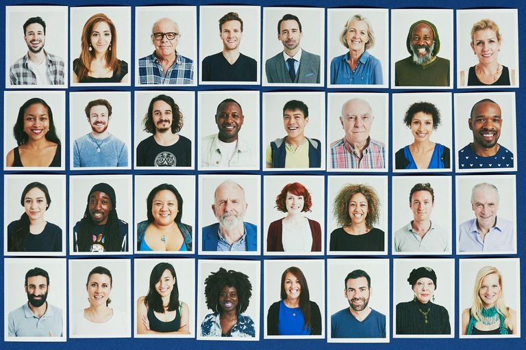A 4x8 grid of small photos of people's faces