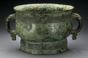 ancient ritual grain server with dragon handles