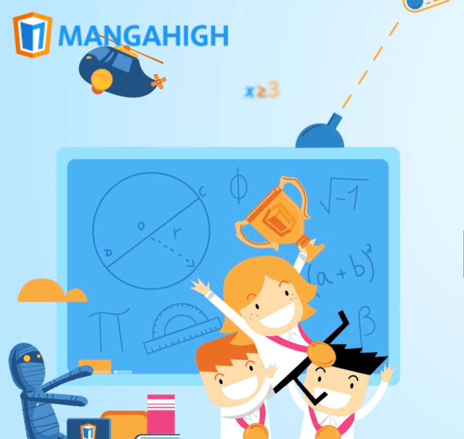 Illustration of children with a trophy from MangaHigh