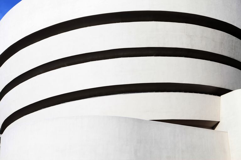 Abstract detail of museum exterior, curves of white and black