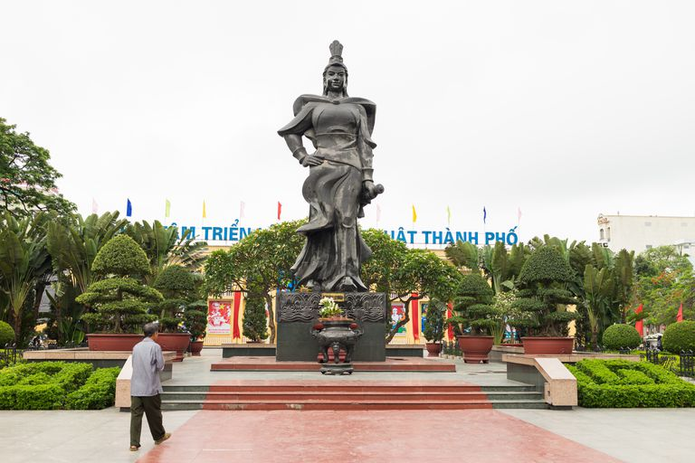 Haiphong, Vietnam - Apr 30, 2015: Statue of heroine Le Chan in center park. Le Chan was female general who led the armies of the Trung Sisters in their struggle against Chinese occupation back in AD40