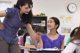 Female student and teacher