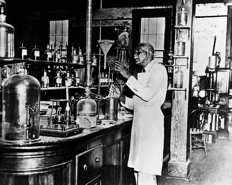 George Washington Carver in Laboratory