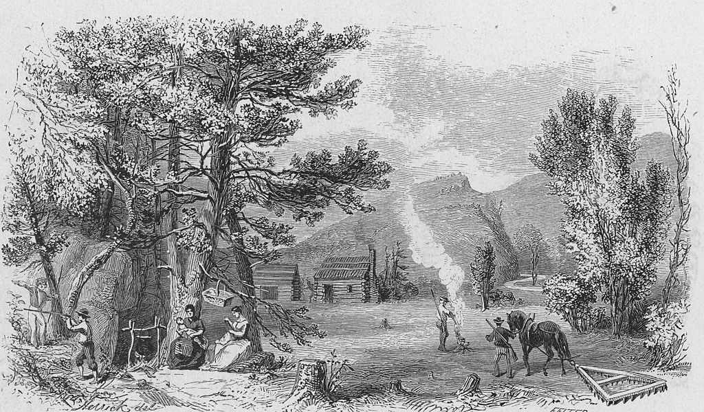 'The Settlers', an engraving of the American Colonial period, circa 1760.