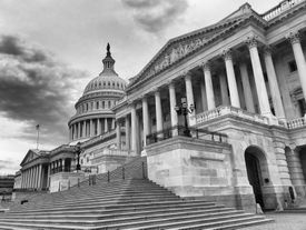 Black and white photo of the U.S. Capitol building