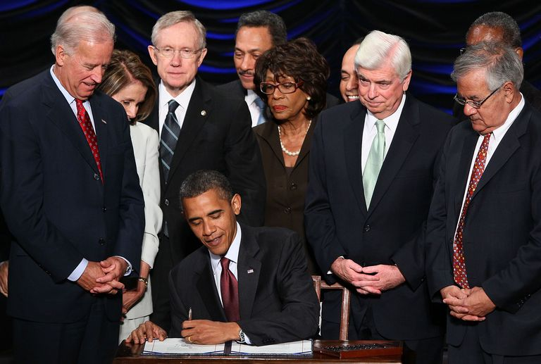 U.S. President Barack Obama signs the Dodd-Frank Wall Street Reform and Consumer Protection Act.