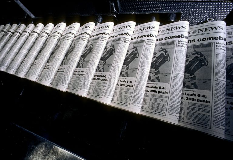 The New York Daily News on a printing press.