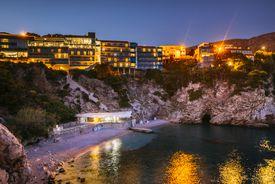 Beach in Dubrovnik at night