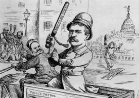 Cartoon of Theodore Roosevelt reforming the New York Police