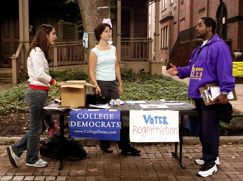 Voter registration drive on the University of Pennsylvania campus September 29, 2004.