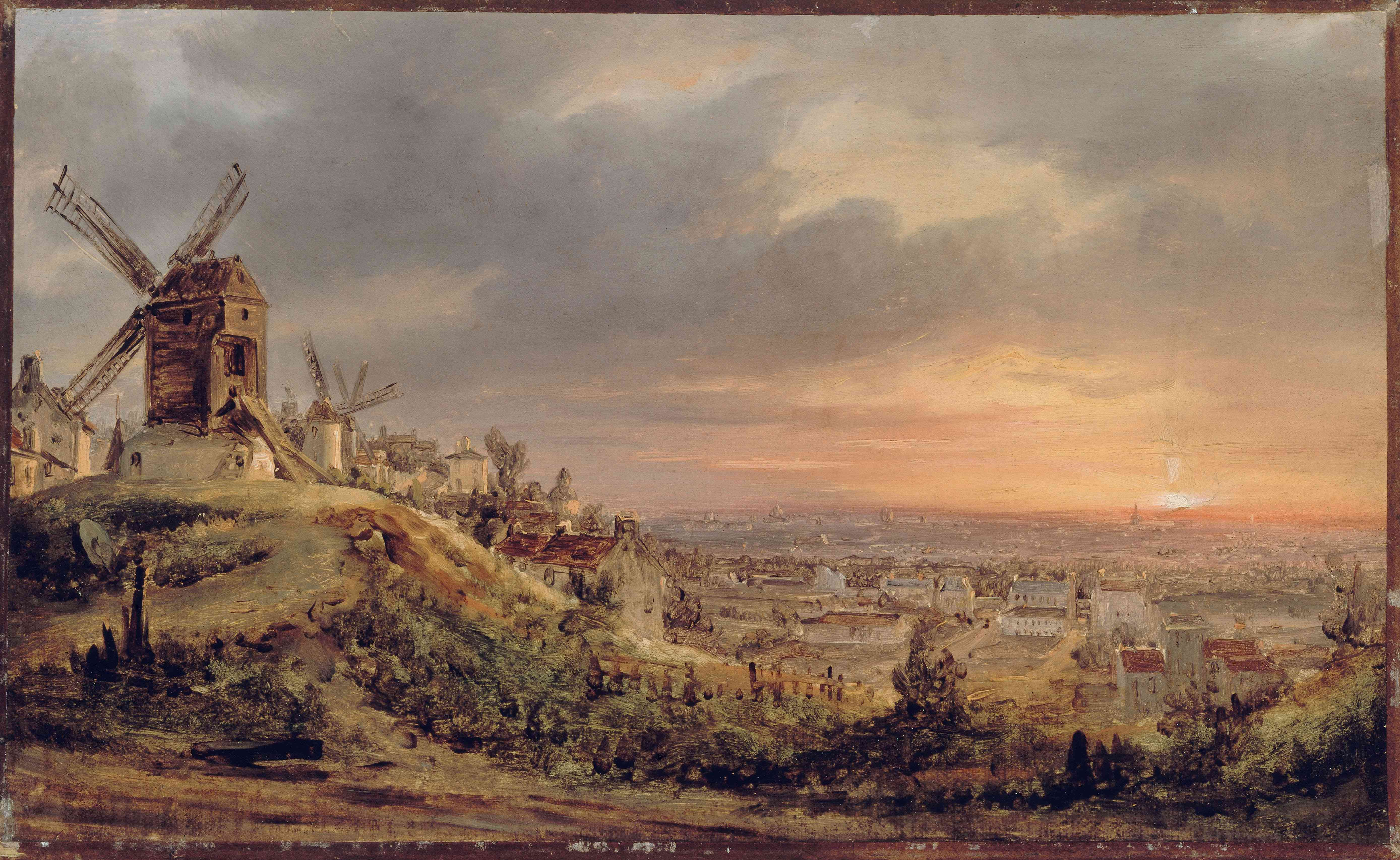 View of Paris painted by Louis Daguerre around 1830