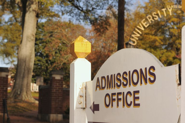 Sign for a University admissions office.
