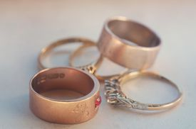 Gold rings on table
