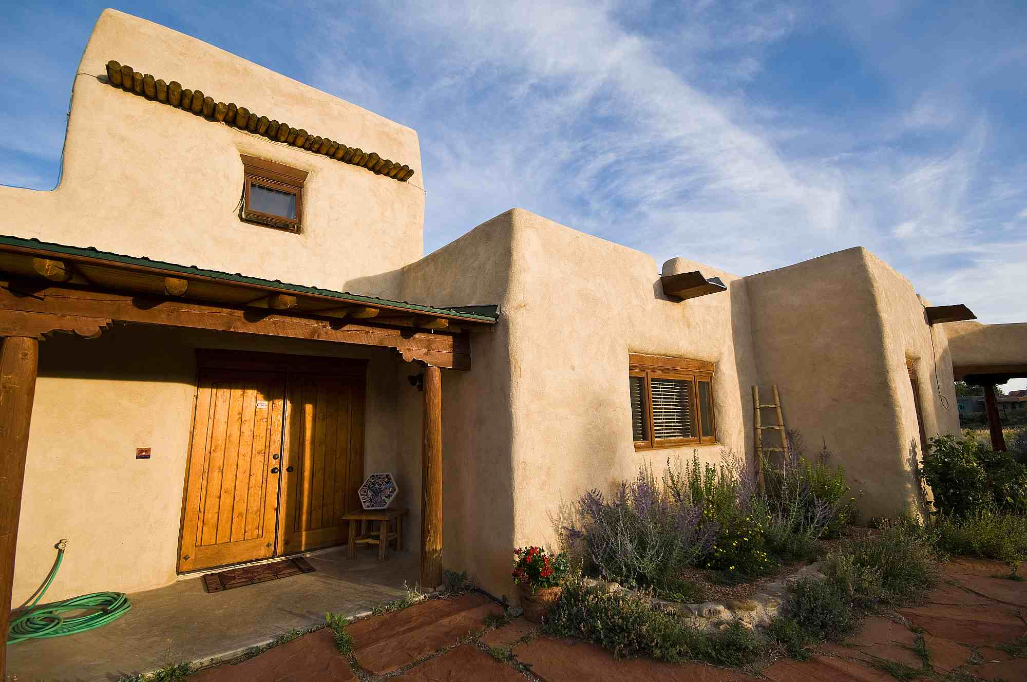 Adobe pueblo style house in new mexico