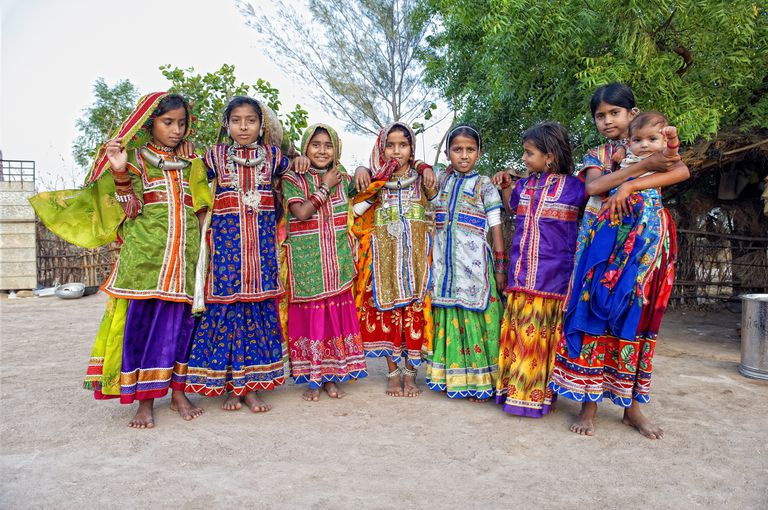 Dalit girls at a wedding in Gujarat.