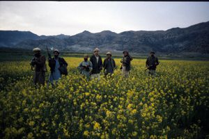 Members of the Afghan guerrilla group Mujahideen in 1987 during war with Soviet Union.