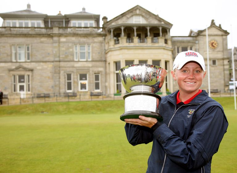 Stacy Lewis holds the Curtis Cup trophy