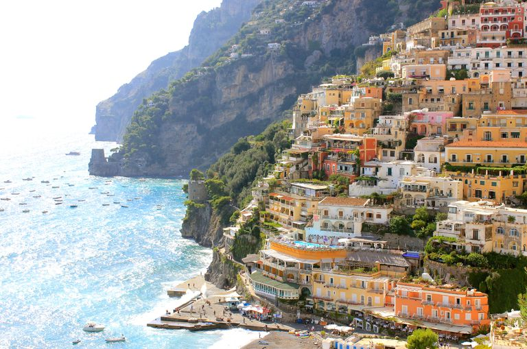Colorful homes in Positano, Italy.