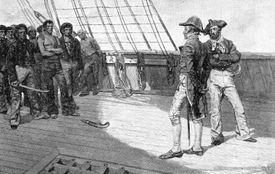 Illustration depicting impressment of American sailors