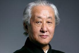 Press photo of Arata Isozaki, white-haired, regal Japanese man.