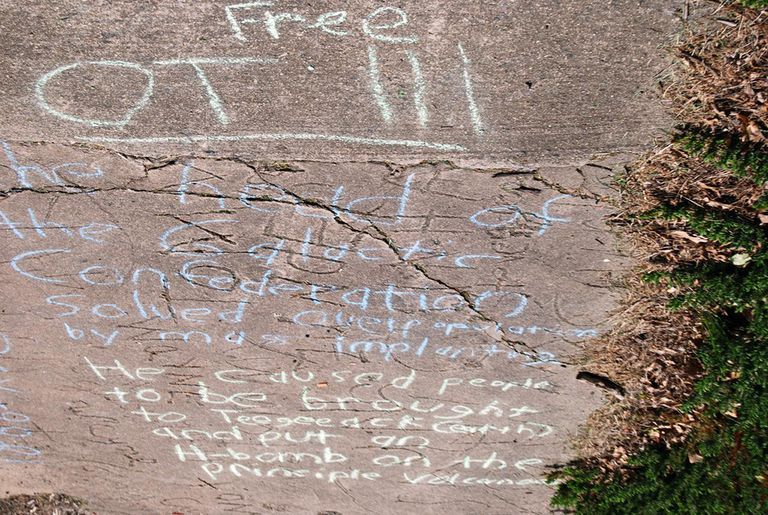 A Chalking of the OTIII in front of the Greensboro Cult of Scientology.