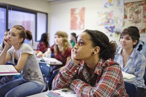 Teenage students in a classroom.