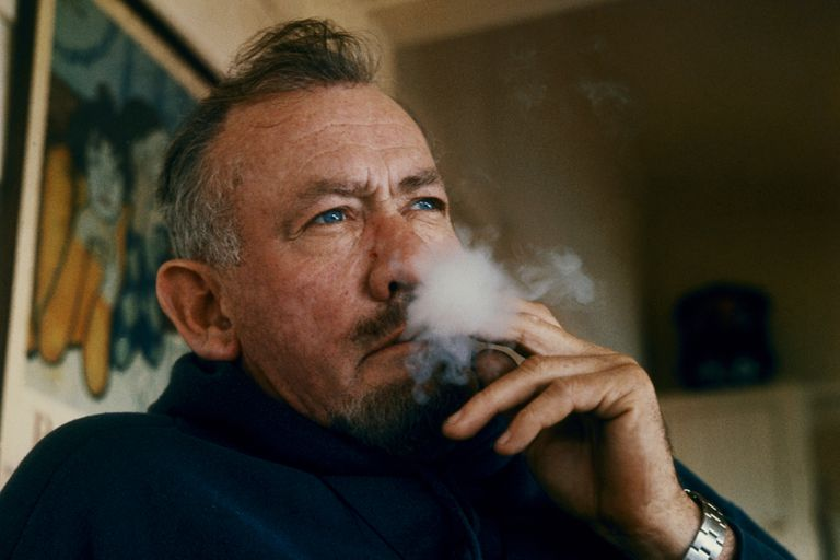 John Steinbeck smoking a cigarette