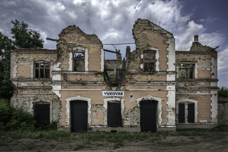 War Damaged Train Station, Vukovar, Croatia