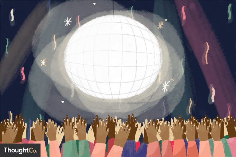 Illustration depicting a disco ball party scene