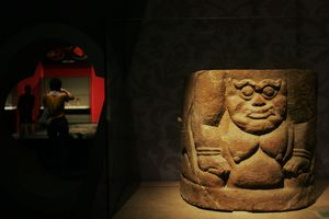 Close up of Tangut pottery in a museum.