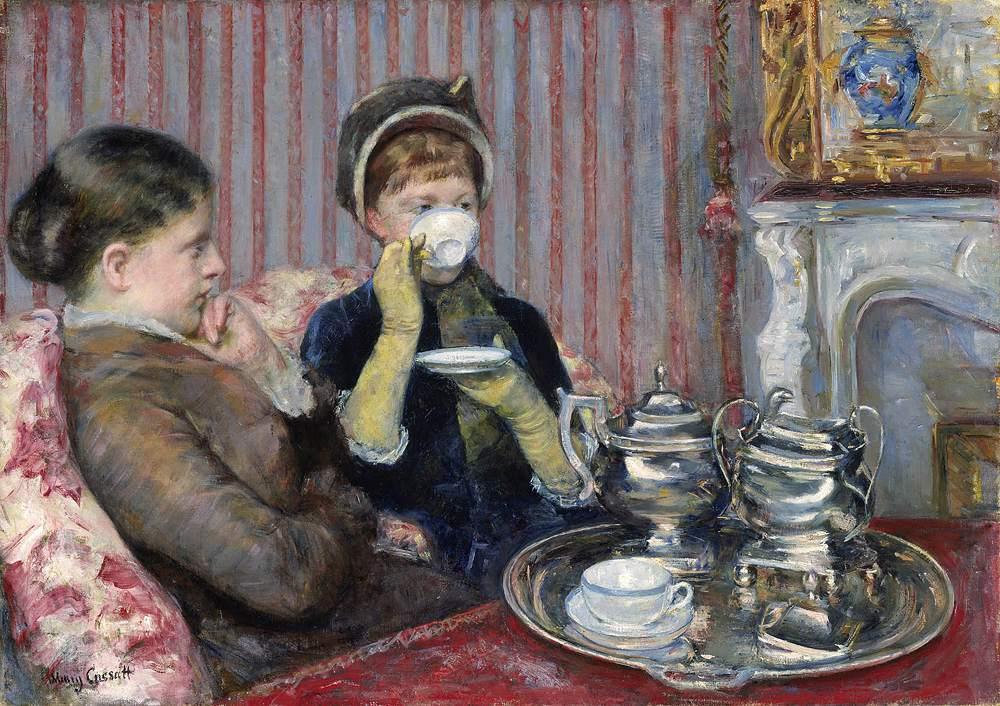 Mary Stevenson Cassatt (American, 1844-1926). The Tea (Le Thé), about 1880. Oil on canvas. 64.77 x 92.07 cm (25 1/2 x36 1/4 in.). M. Theresa B. Hopkins Fund, 1942. 42.178. Museum of Fine Arts, Boston