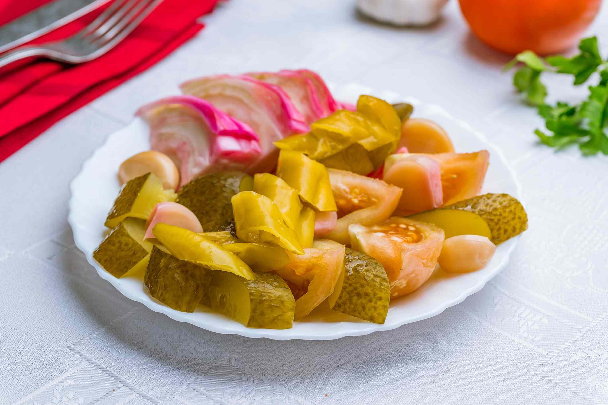 Plate of pickled vegetables
