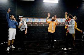 Improvisation and Theatre Games: five men in a scene